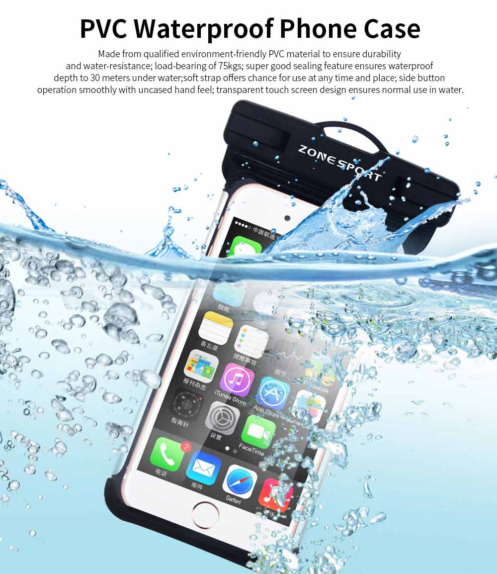 Waterproof Touch Screen Phone Case, Transparent Water Resistant Phone Case For Outdoor Activity 0