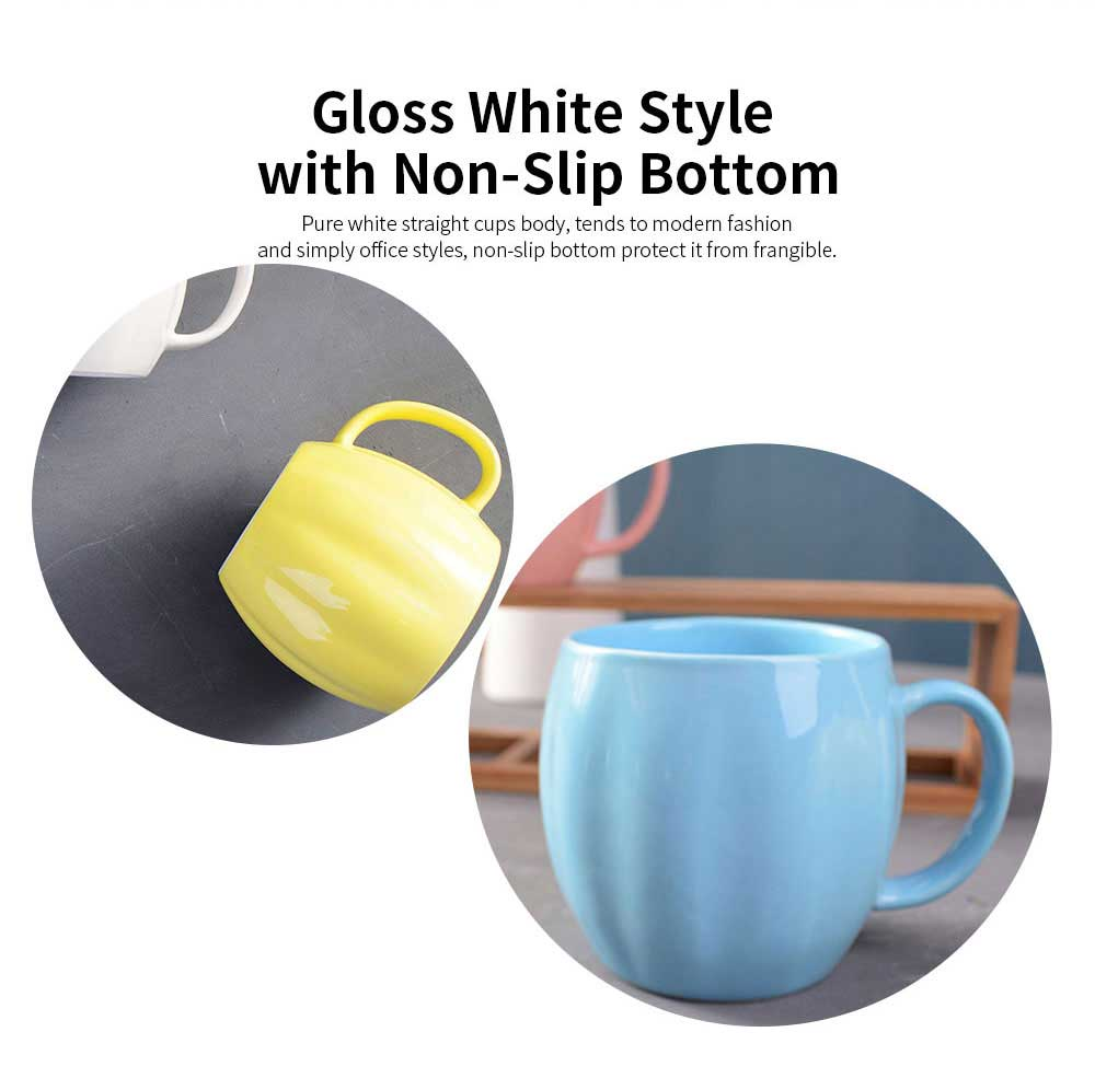 Kitchen Porcelain Mugs, Premium Plain Gloss White Ceramic Coffee Mug Milk Cups with 4 colors 4