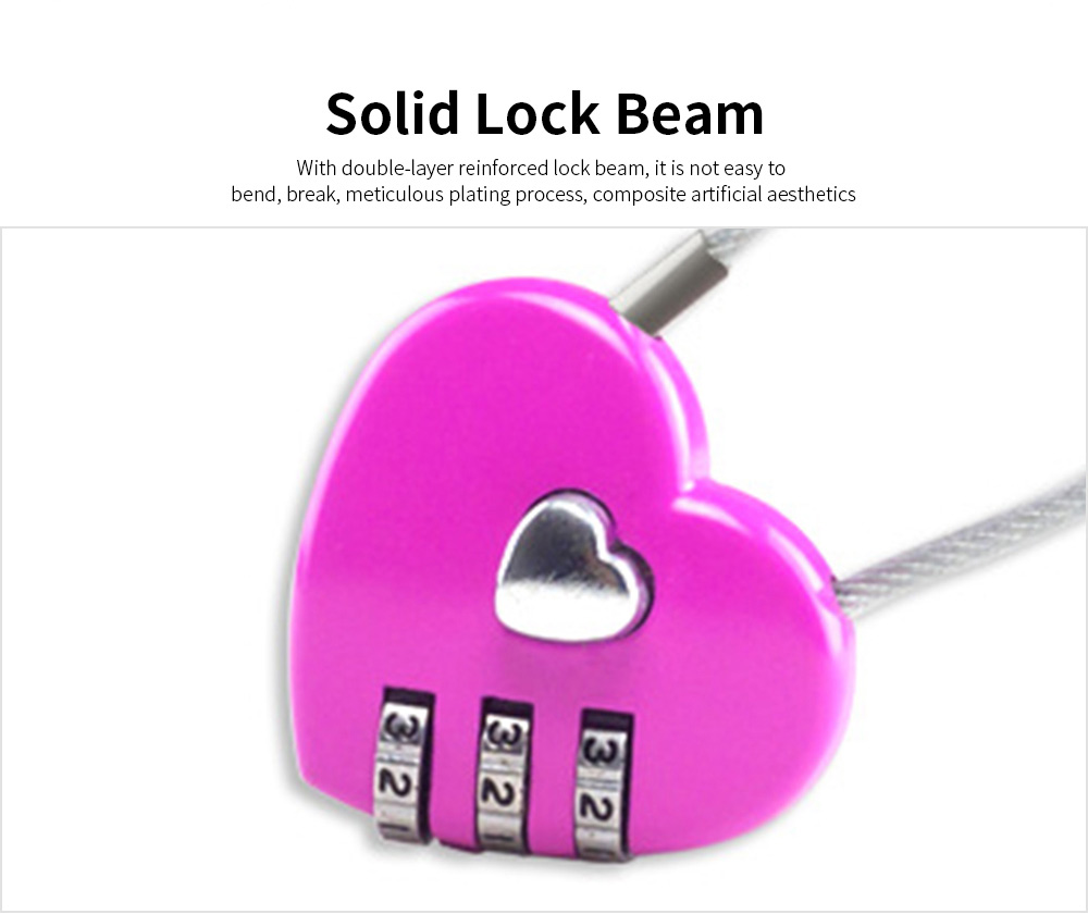 Hot Selling Mini Couple Luggage Lock, Heart Shaped Gift Lock, Love Wire Rope Password Lock 4