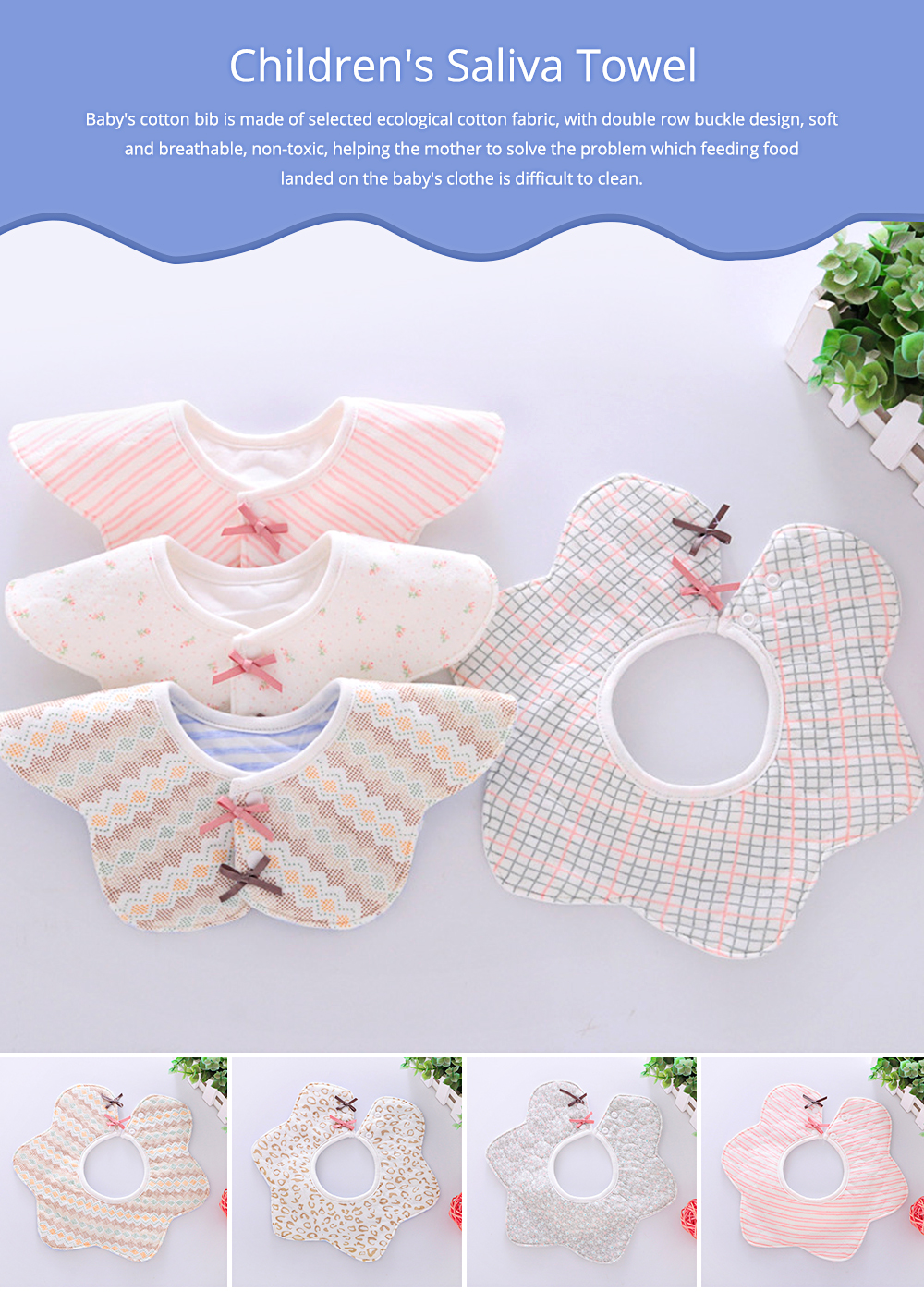 Baby's Double-layer Pure Cotton Waterproof Flower Bib, 360° Rotating Children's Saliva Towel 0