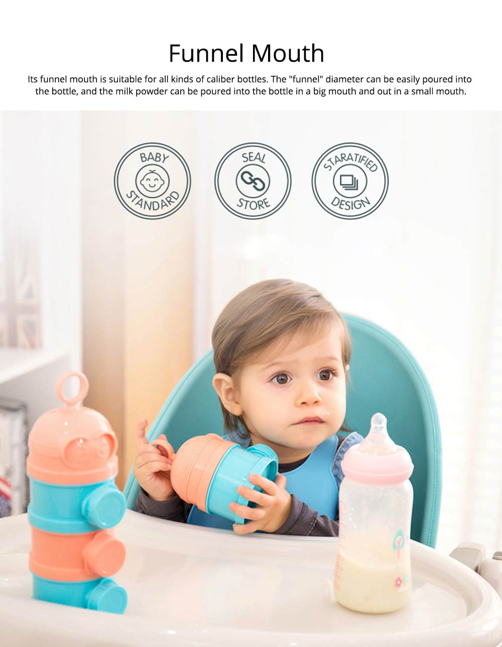 Baby Milk Powder Storage Container, 3 Layers Portable Formula Storage Box 2