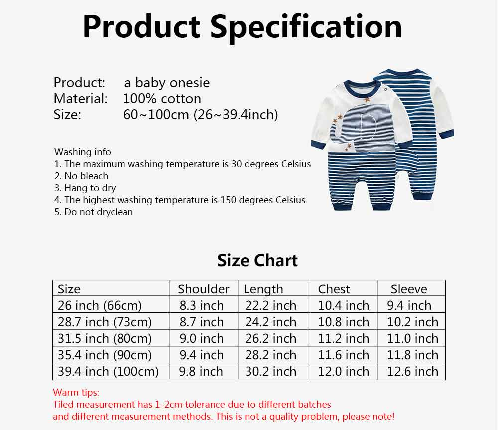 Long Sleeve Infant Romper Round Neck Baby Onesie With Bear Elephant Printing 7