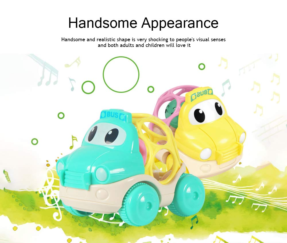 Baby Soft Rubber Inertia Toy Car, Rattle Car Toy for 6-12 Months Baby 3