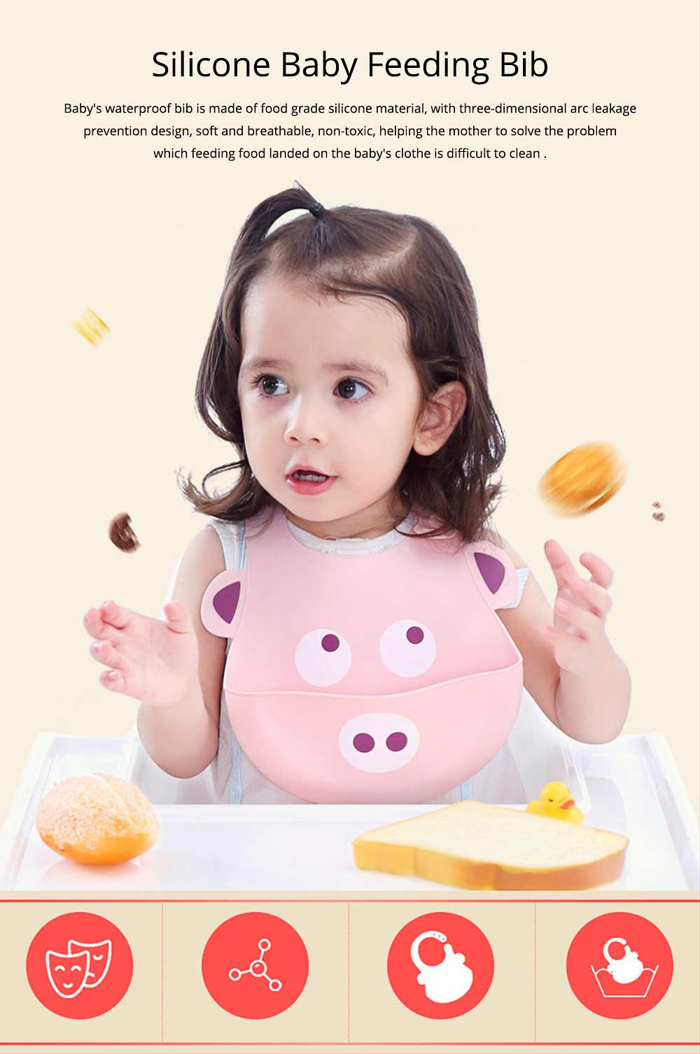 Food Grade Silicone Baby Feeding Bib, Waterproof Disposable Baby Rice Bib with 2-button Design 0