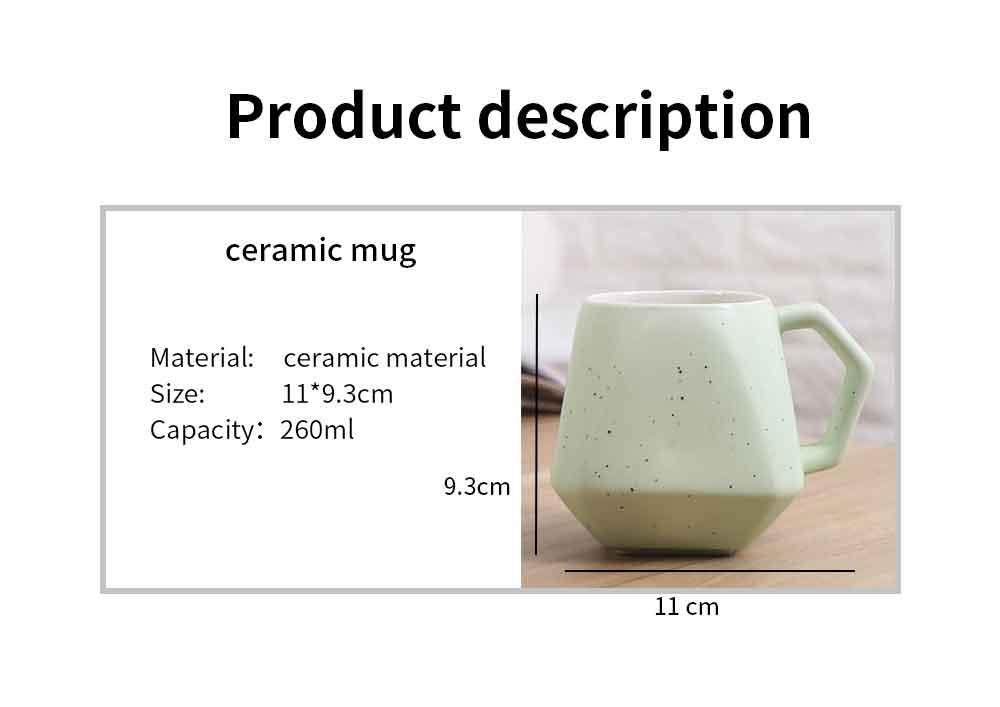 Polygonal Style Ceramic Coffee Milk Mugs, Colorful Stylish Porcelain Mugs 7
