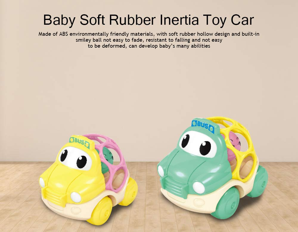 Baby Soft Rubber Inertia Toy Car, Rattle Car Toy for 6-12 Months Baby 0