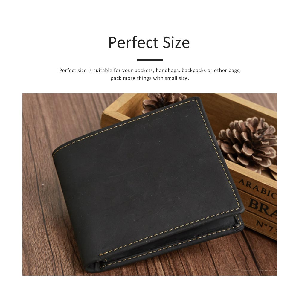 Men's Leather Short Wallet with RFID, Wear-resistant Fashion Casual Purse with Multi-cards 11