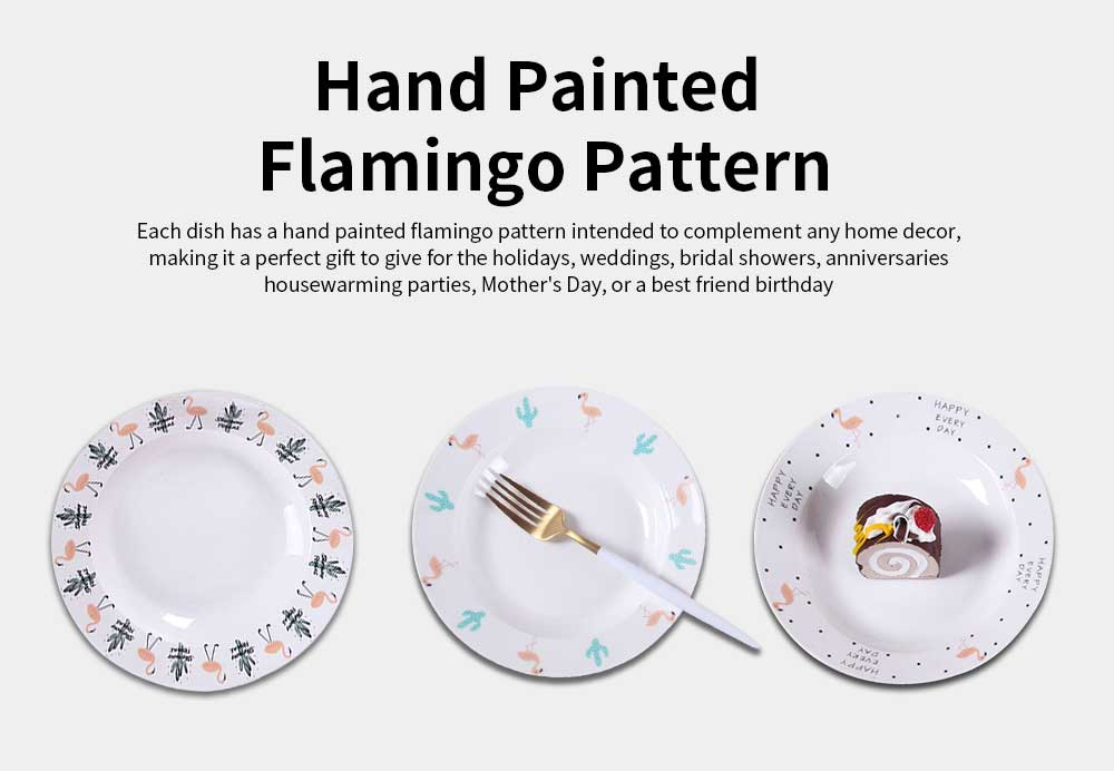 Ceramic Flamingo Plates, Lead Free Porcelain Dinnerware Printed Dishes 2
