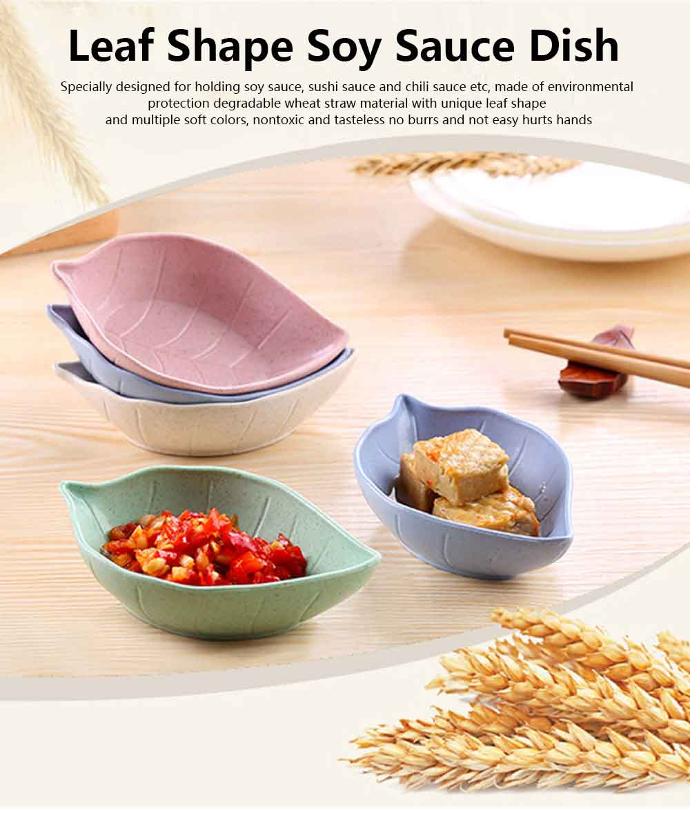 5 PCS Sushi Soy Sauce Dish With Leaf Shape, Degradable Wheat Straw Sauce Bowl For Household Restaurant 0
