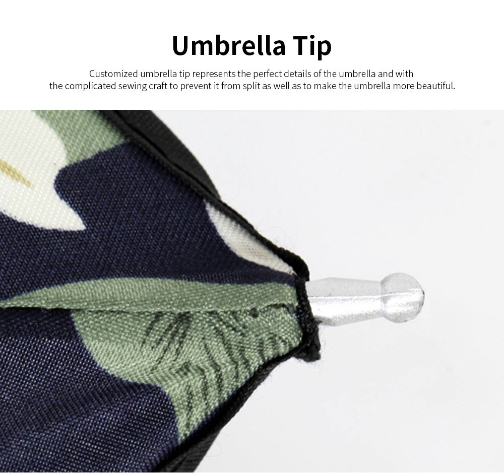 Triple Folding Windproof Travel Umbrella, Anti-Uv Sun Classic Tender Lily Umbrella 2