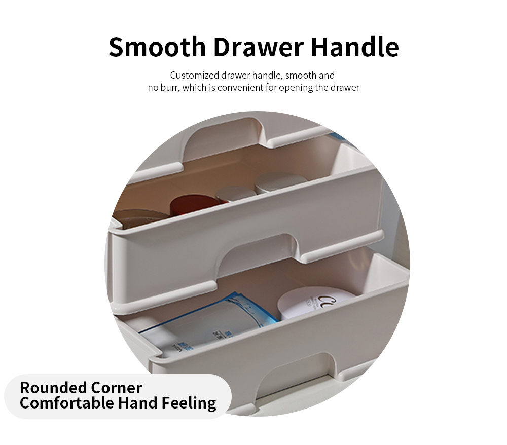 Drawer Type Makeup Organizer, Plastic Simple Cosmetic Holder Dormitory Commodity Shelf for Students 2