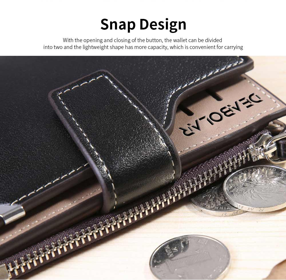 Business Multifunctional Men's Long Wallet with Multi-card And Three-fold, Durable Waterproof Wallet for Photos and Cards 10