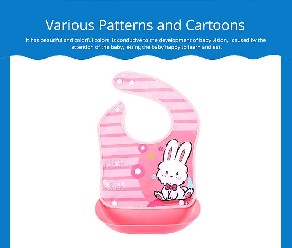 Waterproof Baby Bibs with Snaps Buttons, Silicone Baby's Eating Saliva Bib for Girls and Boys 1