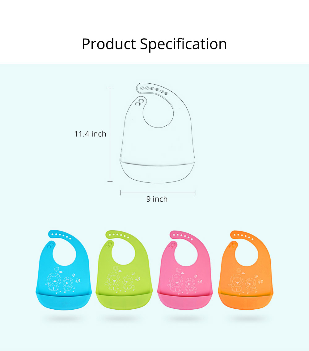 Three-dimensional Pocket Groove Baby's Bib, Waterproof Disposable Rice Bib with 6-button Design 9