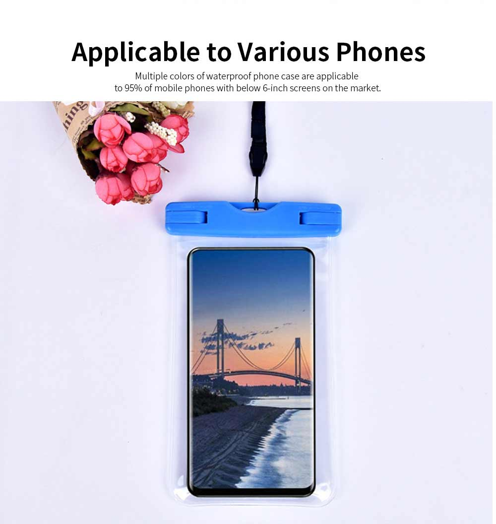 Waterproof Phone Case For Swimming, Transparent PVC Smart Phone Case 6-Inch 6