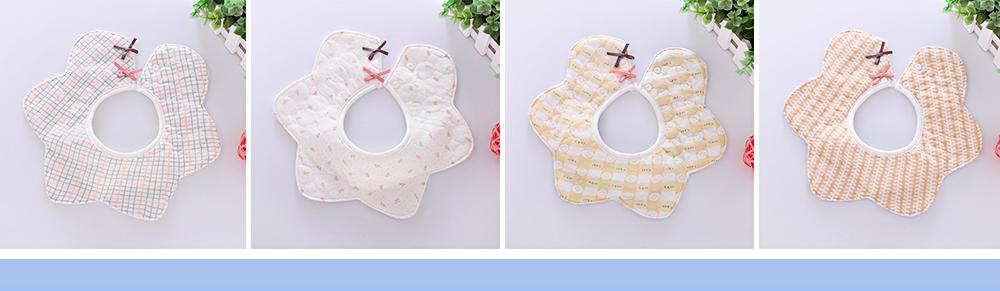 Baby's Double-layer Pure Cotton Waterproof Flower Bib, 360° Rotating Children's Saliva Towel 1