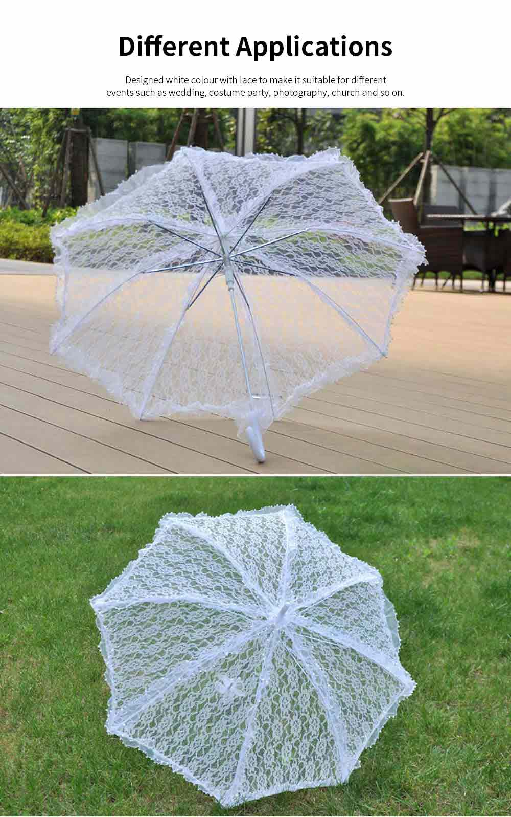 Automatic Wedding Umbrella with Wooden Handle, White Lace Decoration Umbrella, Costume Accessory Wedding Parasol 4