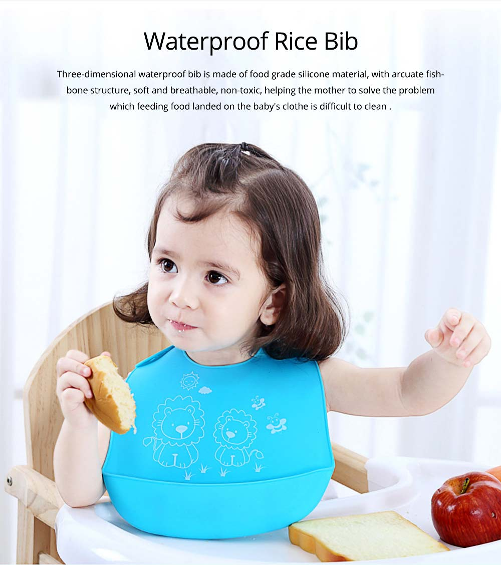Three-dimensional Pocket Groove Baby's Bib, Waterproof Disposable Rice Bib with 6-button Design 0