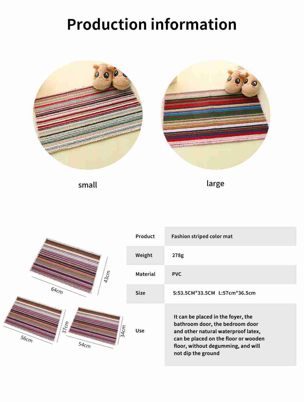 Hot Small Color Floor Mats, Kitchen Bathroom Anti-slip Door Mats 6