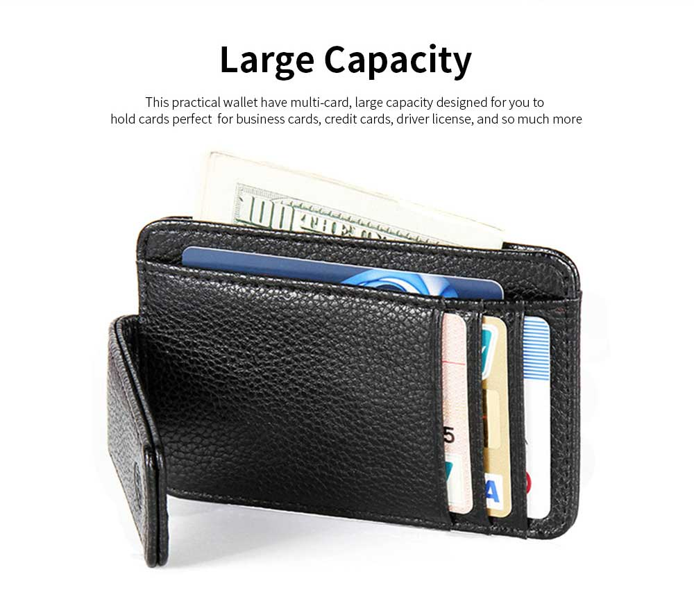 PU Leather Men's Short Wallet with Multi-card And Two-fold, Magnetic Buckle Coin Purse Card Holder Cash Purse 10