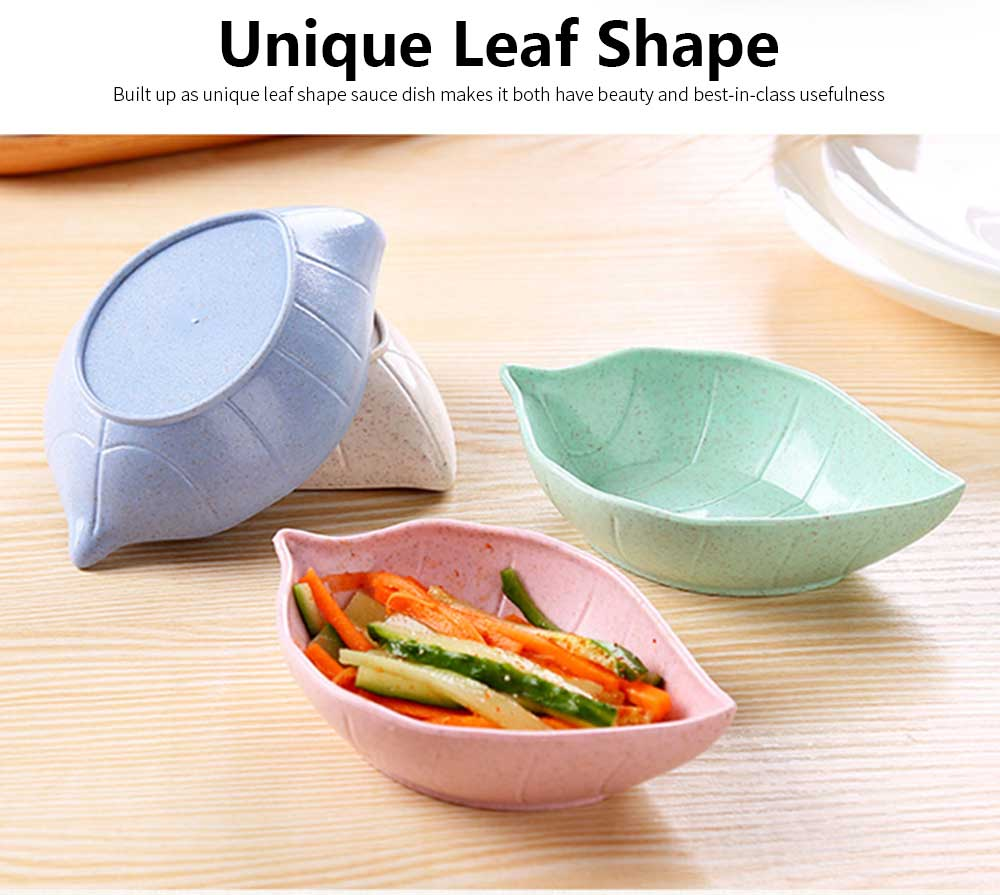 5 PCS Sushi Soy Sauce Dish With Leaf Shape, Degradable Wheat Straw Sauce Bowl For Household Restaurant 4