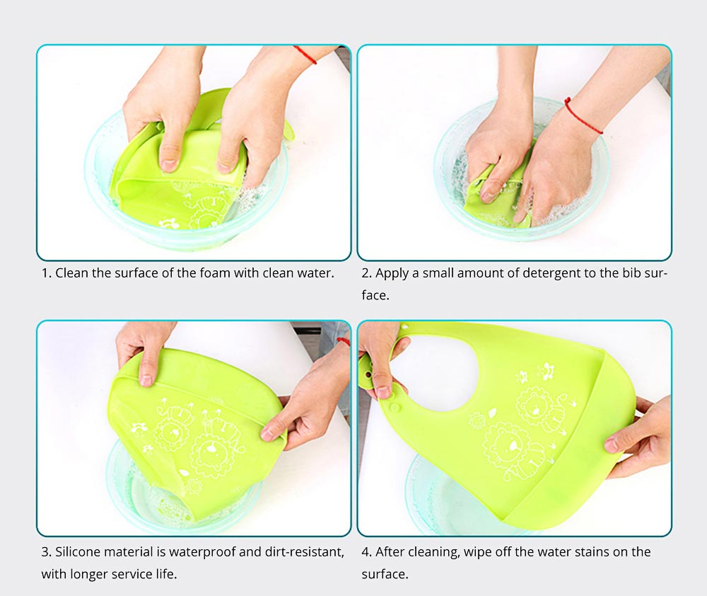 Three-dimensional Pocket Groove Baby's Bib, Waterproof Disposable Rice Bib with 6-button Design 11