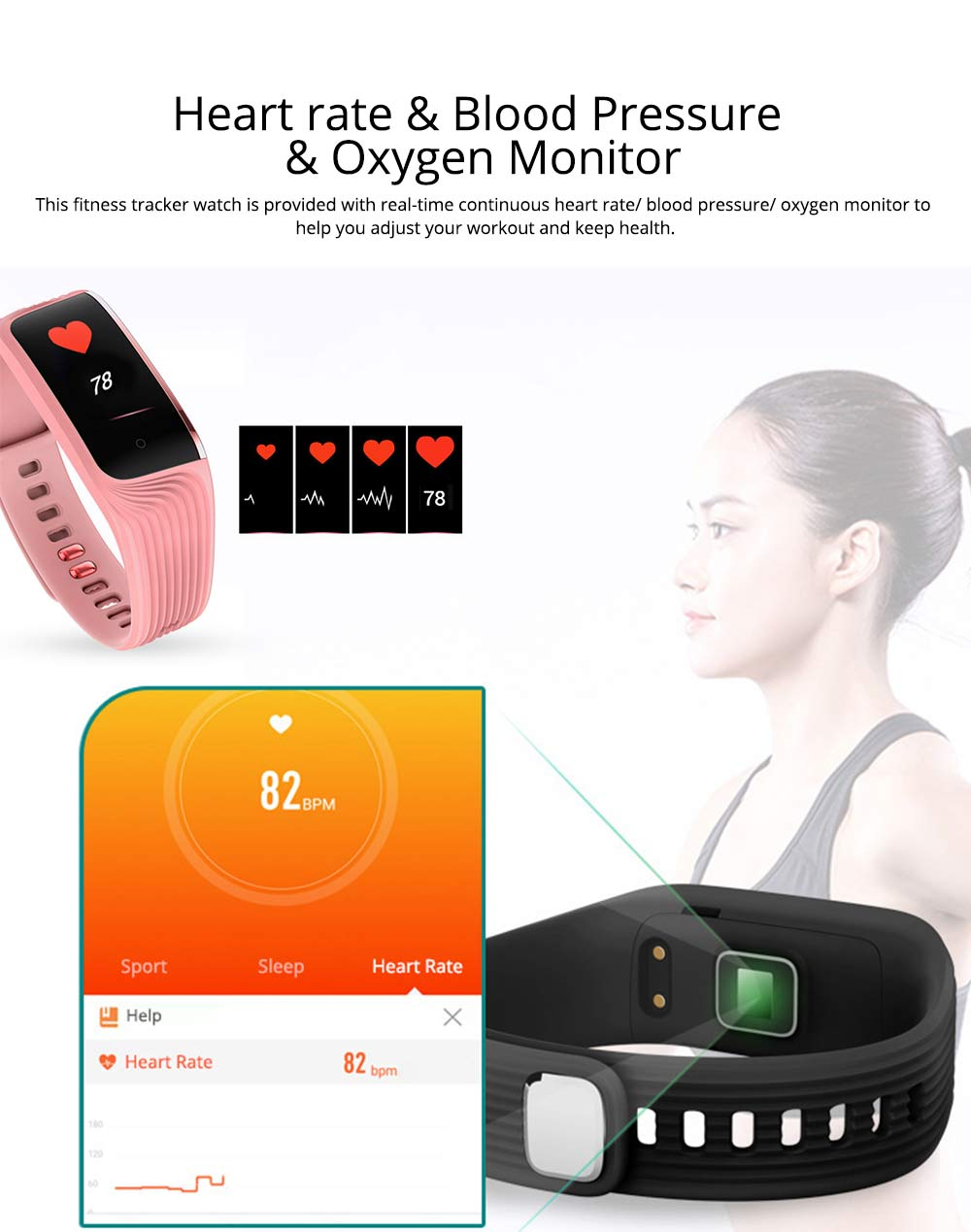 Smart Color Screen Sports Waterproof Bluetooth Stepping Fitness Tracker for Sleep Anti-lost Heart Rate Monitoring 4