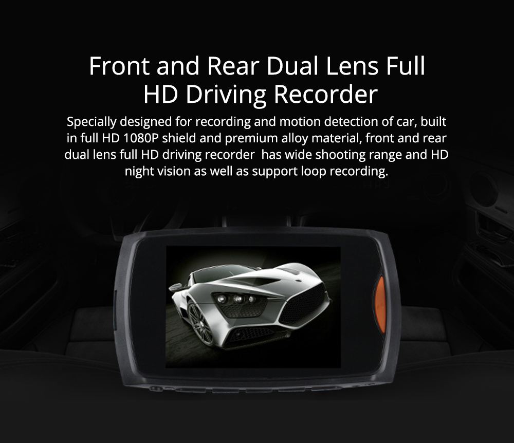 1080p Hd Dual Lens Driving Recorder, 170 Degree Windshield Vehicle Driving Recorder For Motion Detection 0