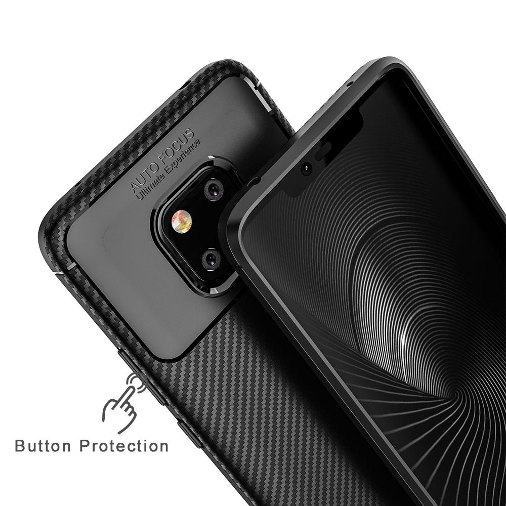 Spessn Carbon Fiber Cover Anti-Scratch Shockproof Skin Case for Huawei Mate 20 Pro, Mate 20 Classic Black Blue Brown 6