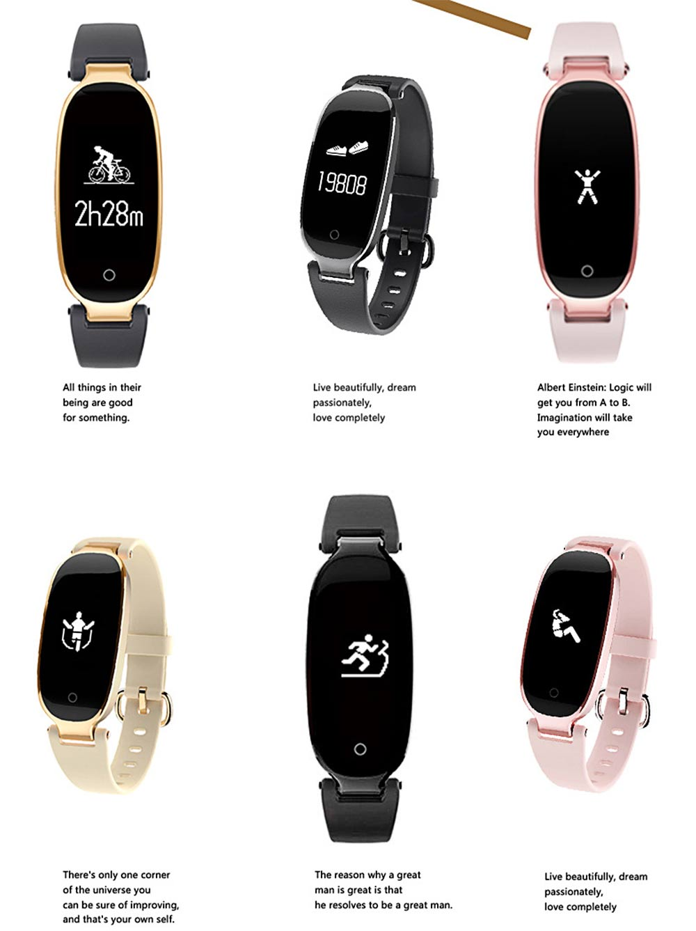 Smart Waterproof Bracelet, Dynamic Heart Rate Ladies Fitness Step Counter with Multiple Sports Mode 2