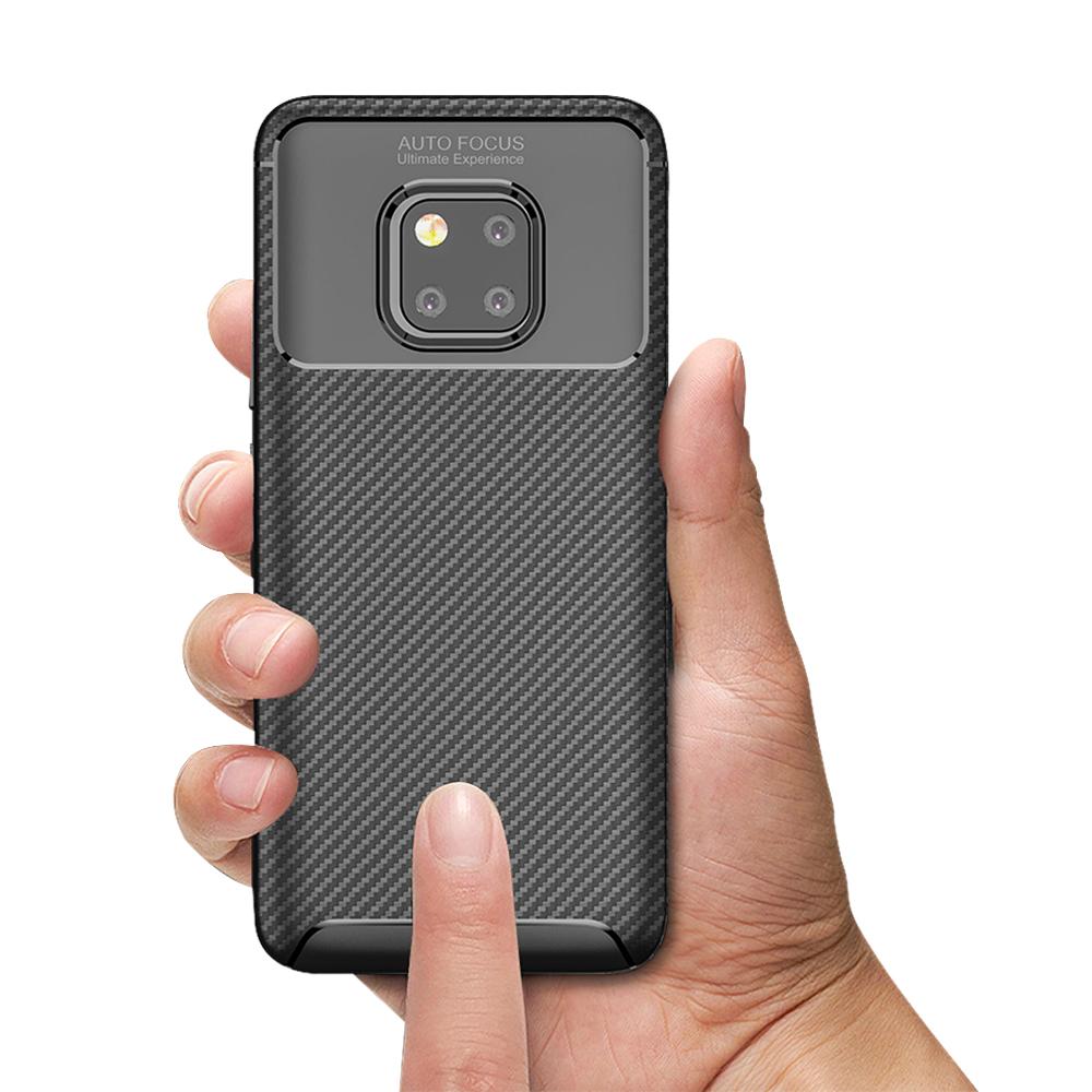 Spessn Carbon Fiber Cover Anti-Scratch Shockproof Skin Case for Huawei Mate 20 Pro, Mate 20 Classic Black Blue Brown 9