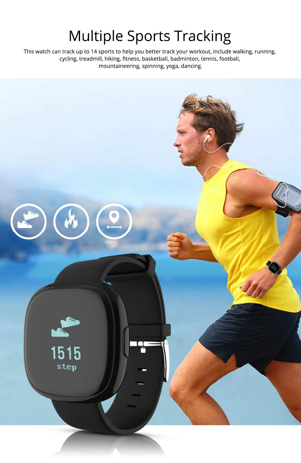 Fashion Smart Universal Watch Fitness Tracker for GPS Positioning Function and Heart Rate Monitoring 1