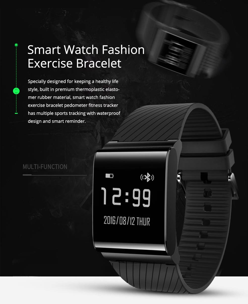 Fashion Exercise Bracelet Pedometer Fitness Tracker for Heart Rate Monitoring Blood Pressure 0