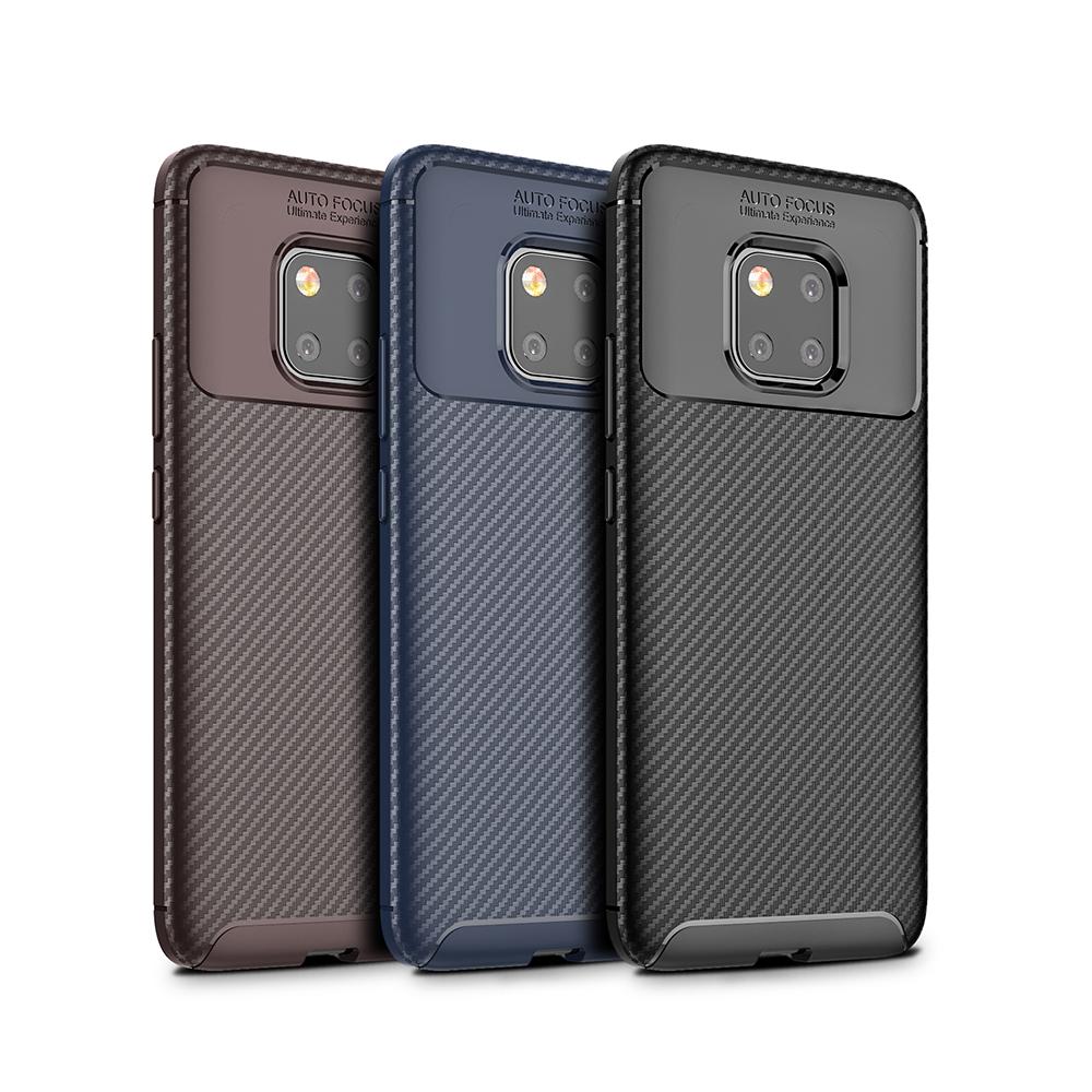 Spessn Carbon Fiber Cover Anti-Scratch Shockproof Skin Case for Huawei Mate 20 Pro, Mate 20 Classic Black Blue Brown 10