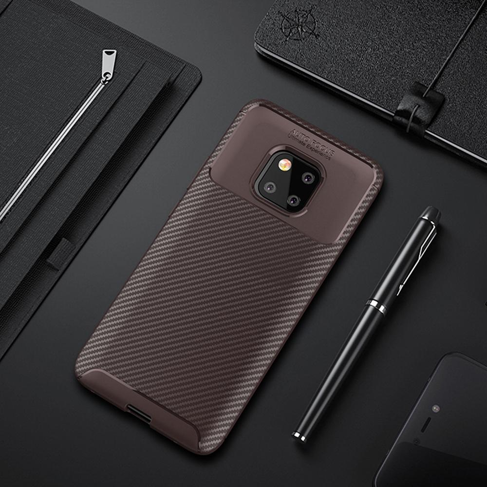 Spessn Carbon Fiber Cover Anti-Scratch Shockproof Skin Case for Huawei Mate 20 Pro, Mate 20 Classic Black Blue Brown 4