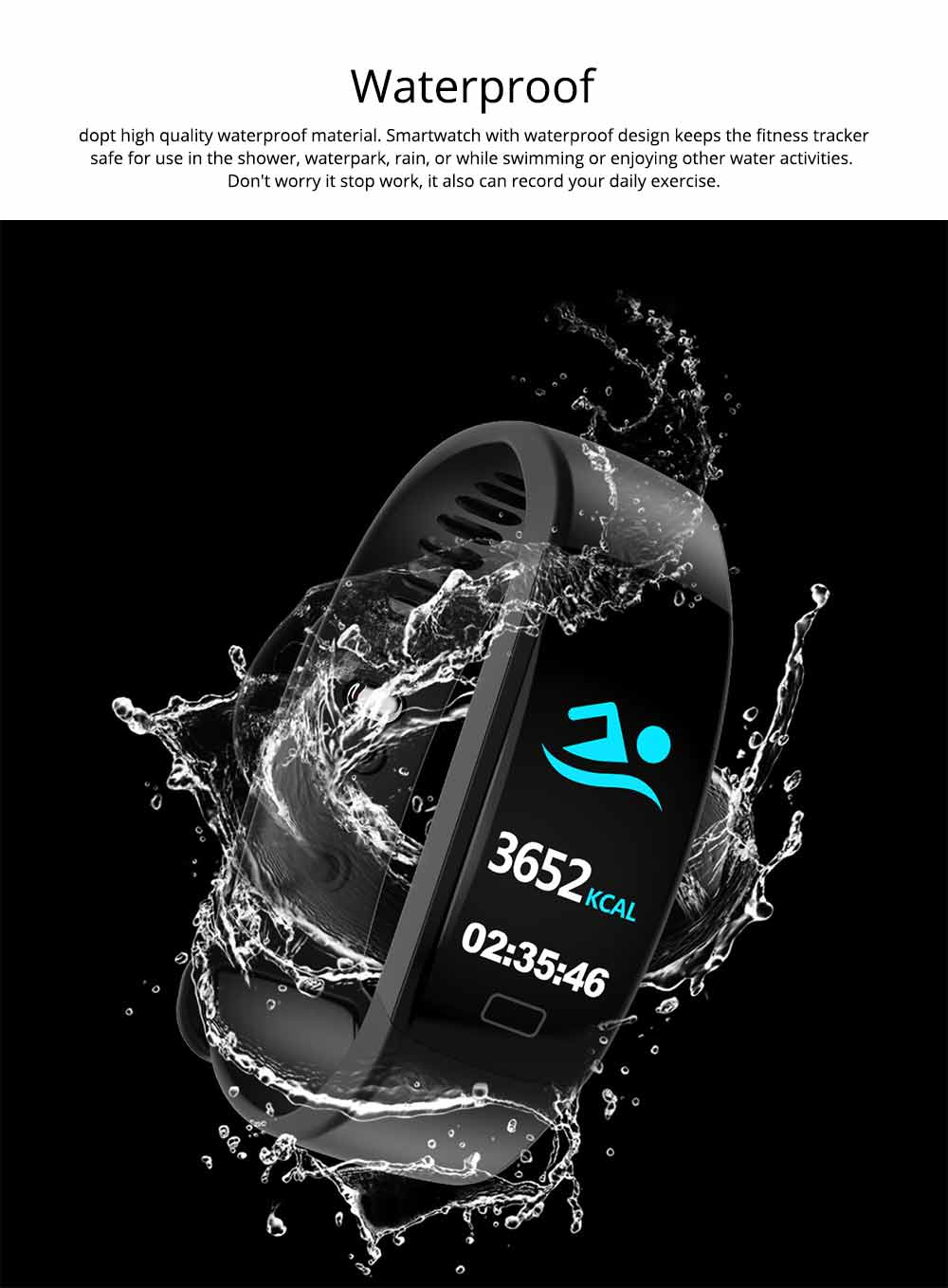 Waterproof Sports Bluetooth Bracelet for Call Reminder Monitoring, Music, GPS and Weather 1