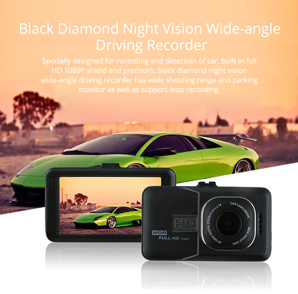 HD mini Car Recorder for Night Vision Wide-angle Driving, 3 inch Black Diamond  Driving Recorder 0