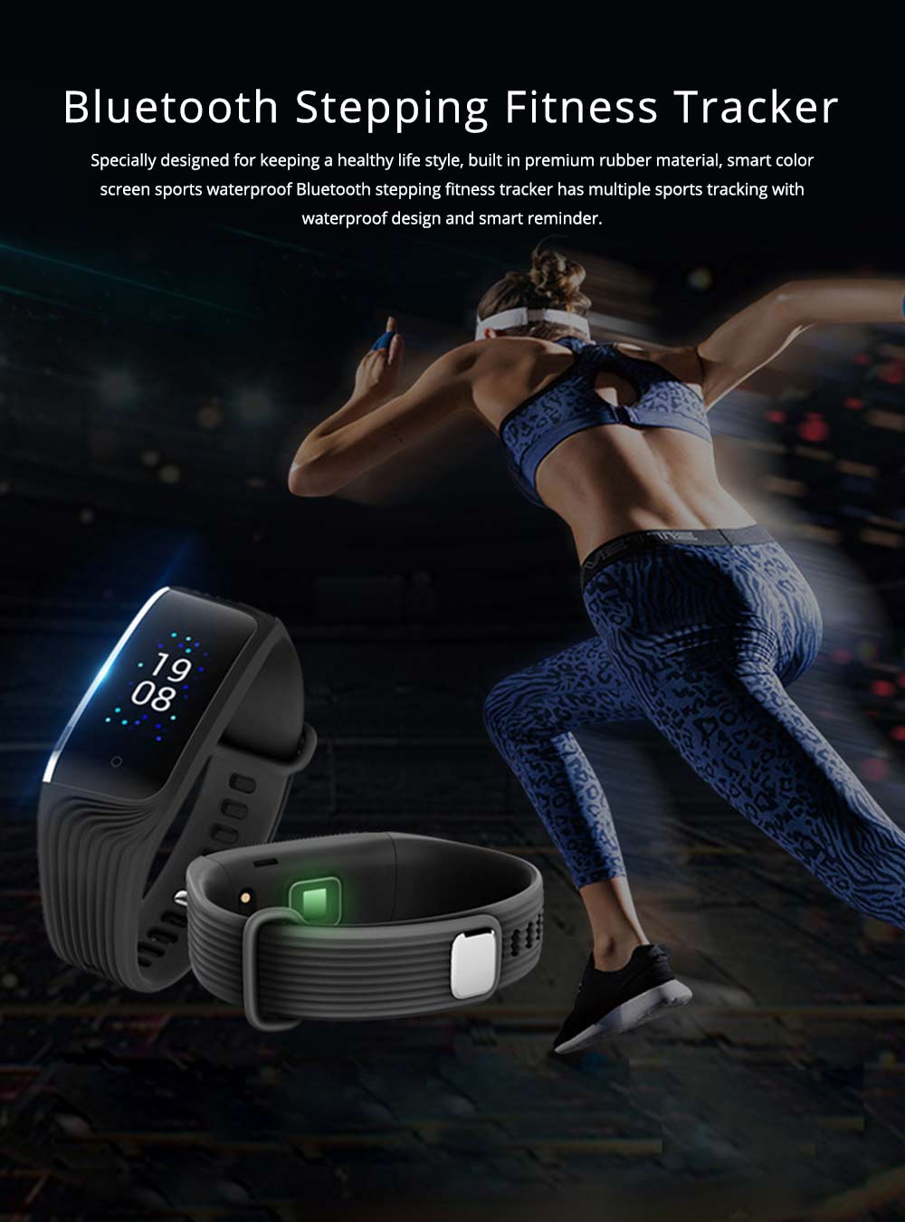 Smart Color Screen Sports Waterproof Bluetooth Stepping Fitness Tracker for Sleep Anti-lost Heart Rate Monitoring 0