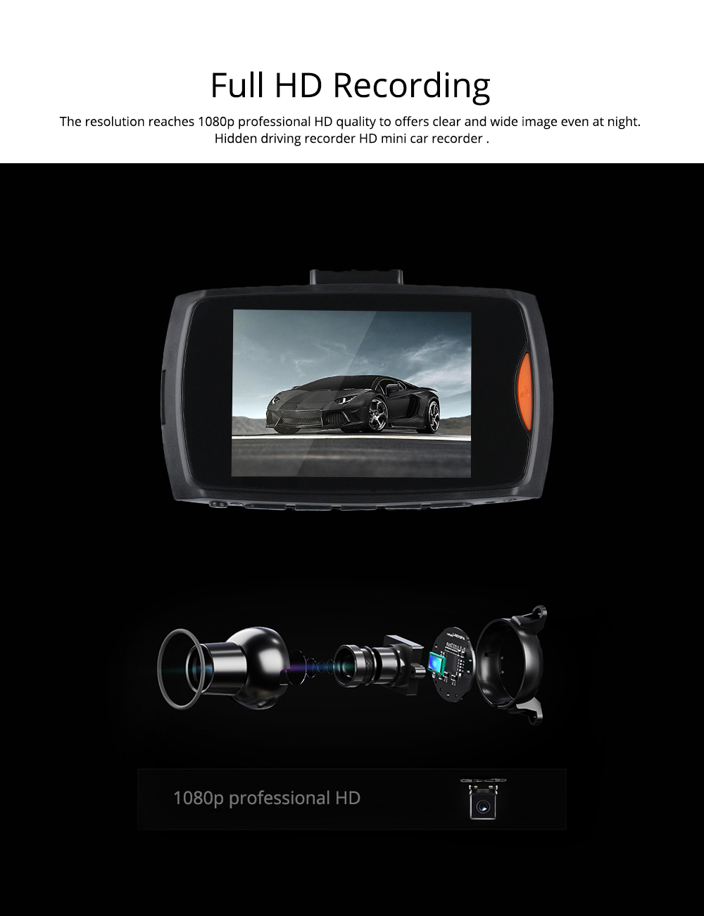 1080p Hd Dual Lens Driving Recorder, 170 Degree Windshield Vehicle Driving Recorder For Motion Detection 1