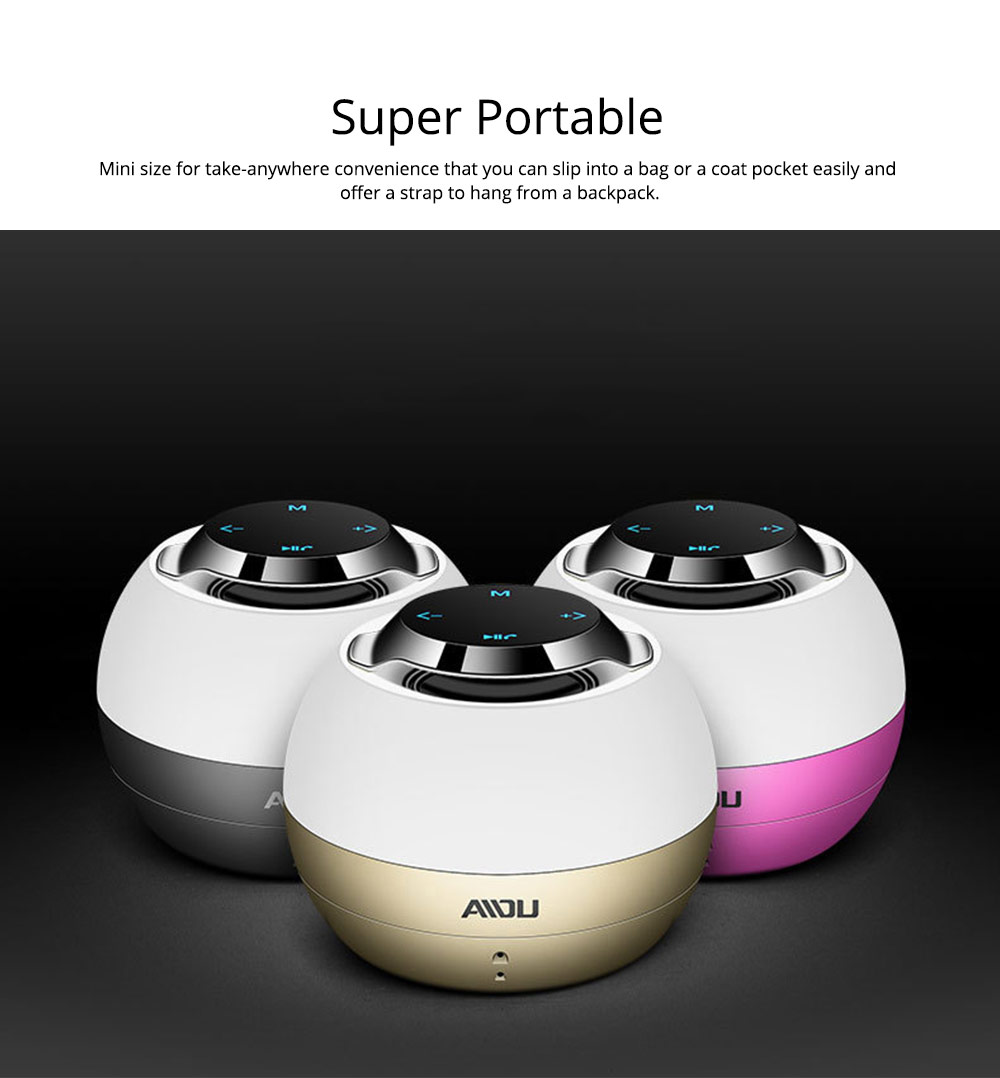 Portable Bluetooth Speaker With Built In Subwoofer, Mini Network Audio For iPhone iPad PC 4