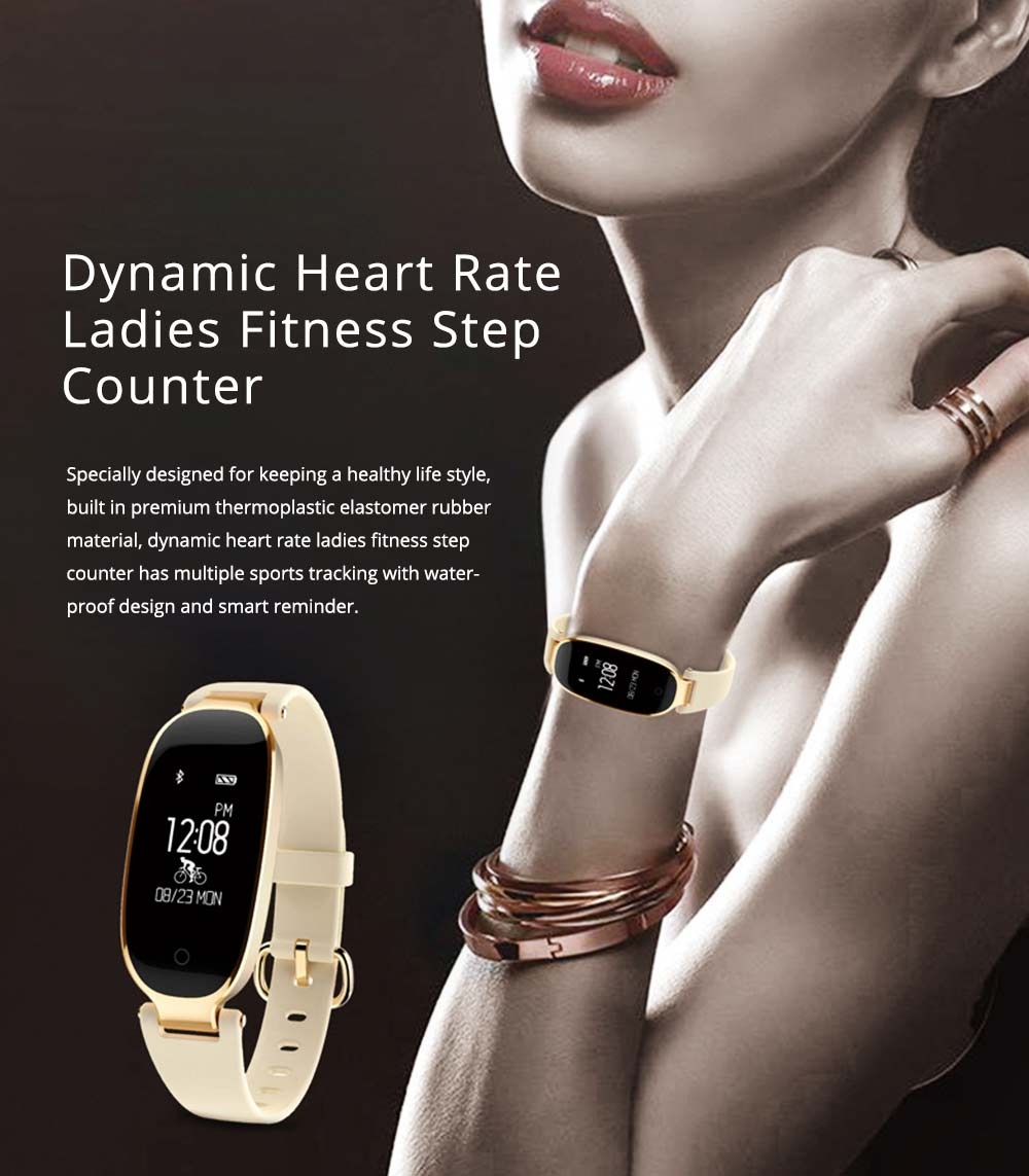 Smart Waterproof Bracelet, Dynamic Heart Rate Ladies Fitness Step Counter with Multiple Sports Mode 0