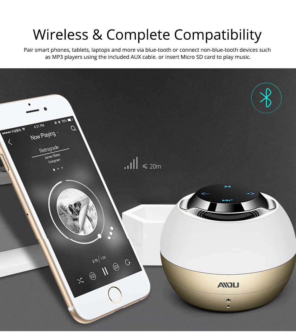 Portable Bluetooth Speaker With Built In Subwoofer, Mini Network Audio For iPhone iPad PC 2