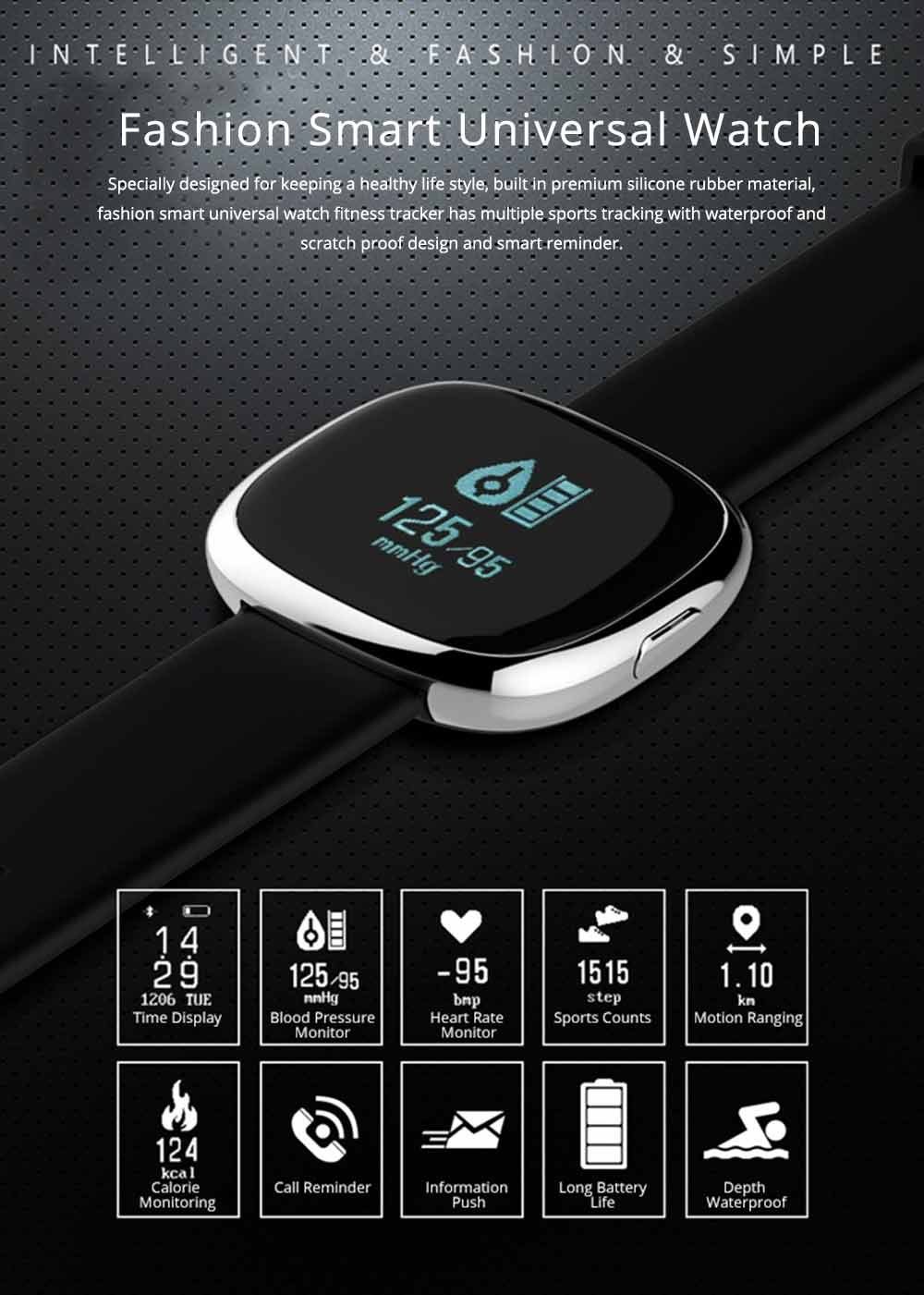 Fashion Smart Universal Watch Fitness Tracker for GPS Positioning Function and Heart Rate Monitoring 0