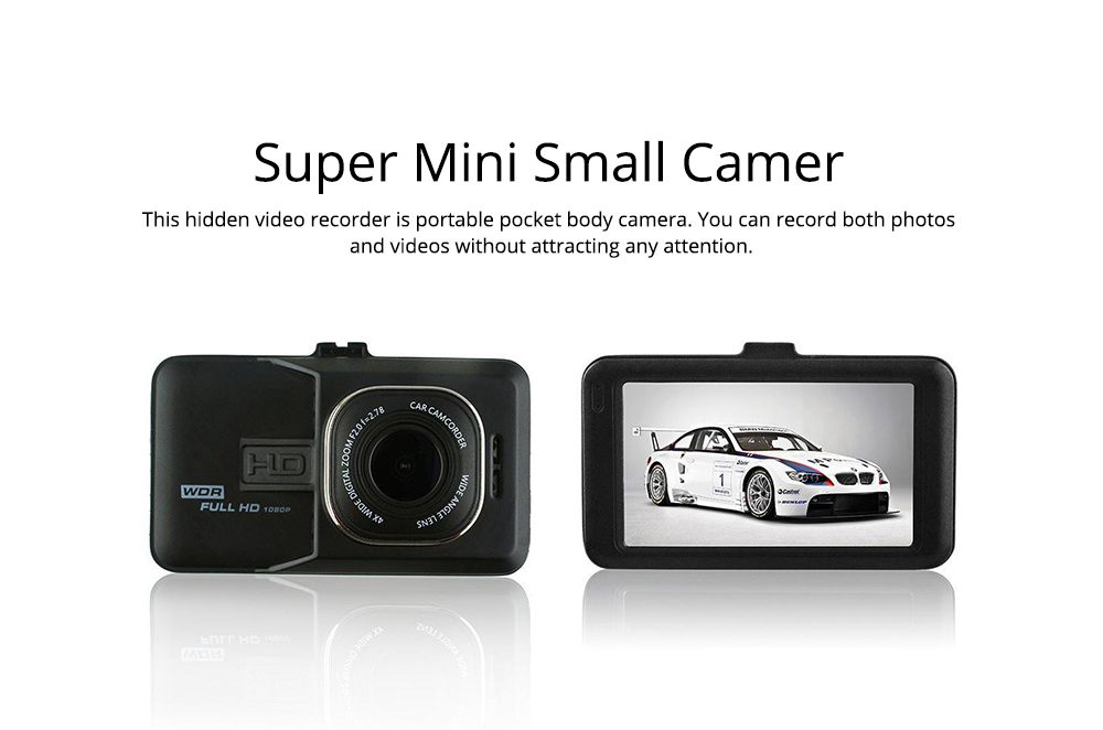 HD mini Car Recorder for Night Vision Wide-angle Driving, 3 inch Black Diamond  Driving Recorder 5