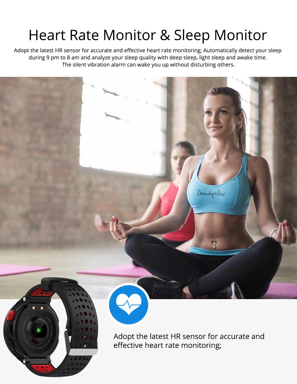 Blood Pressure Pedometer Heart Rate Monitor Sports Smart Wristband Bracelet 3