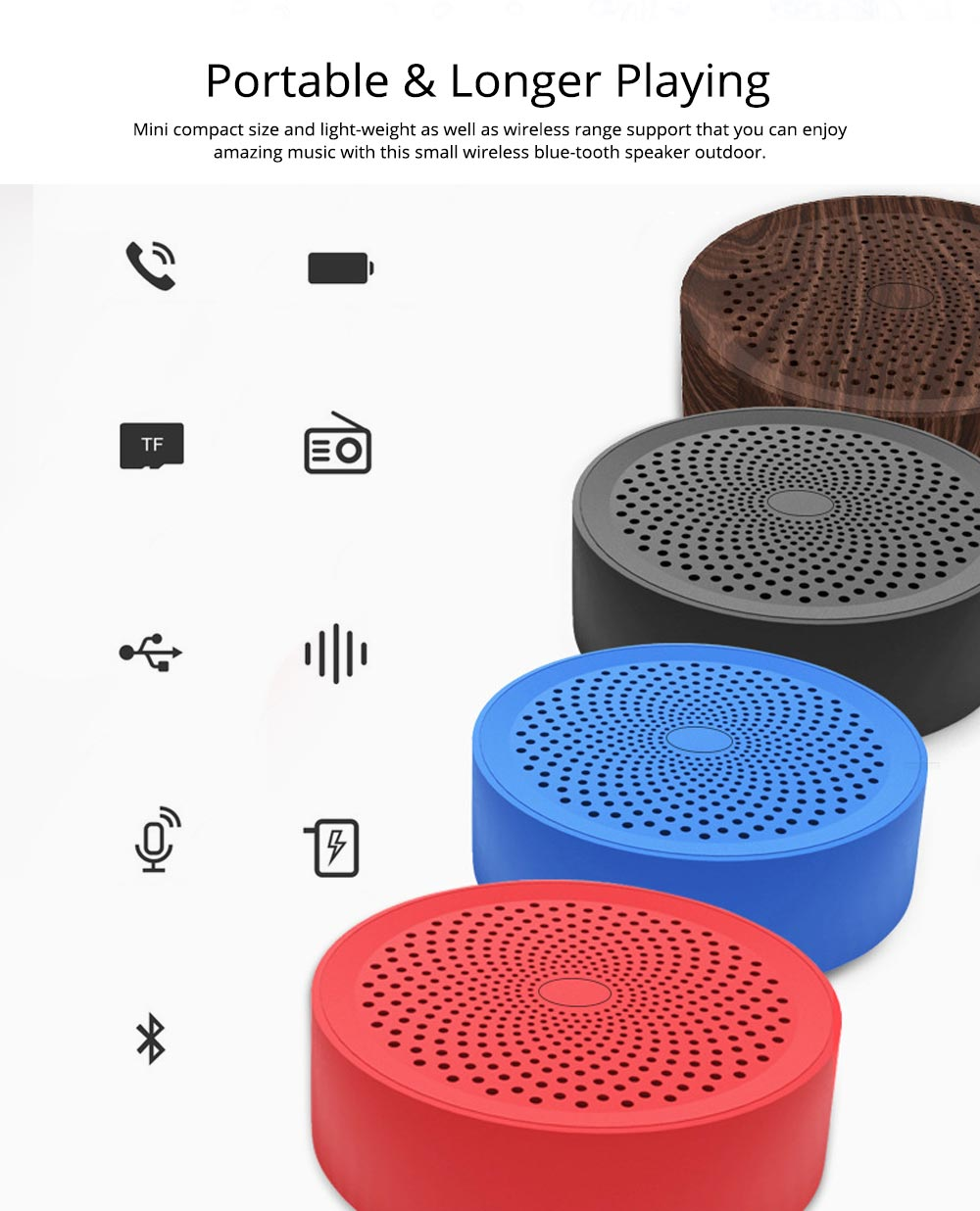 Portable Outdoor Bluetooth Speaker, Wireless Mini Card Speaker for iPhone iPad PC 5