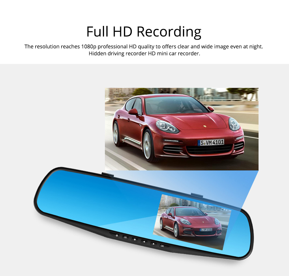 Rear View Mirror Camera Recorder, 1080P HD Driving Recorder For Night Vision Parking Monitoring 1