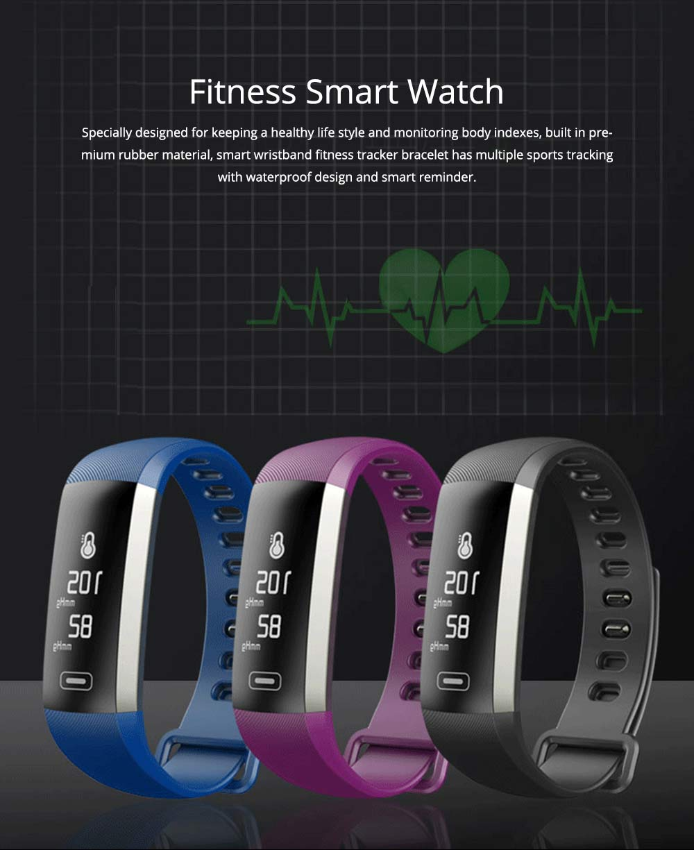Smart Wristband Fitness Tracker Bracelet for Monitoring Heart Rate Blood Pressure Watch Pulse Meter Oxygen 0