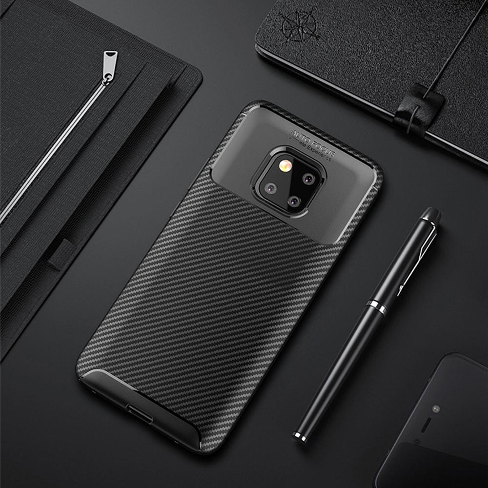 Spessn Carbon Fiber Cover Anti-Scratch Shockproof Skin Case for Huawei Mate 20 Pro, Mate 20 Classic Black Blue Brown 0