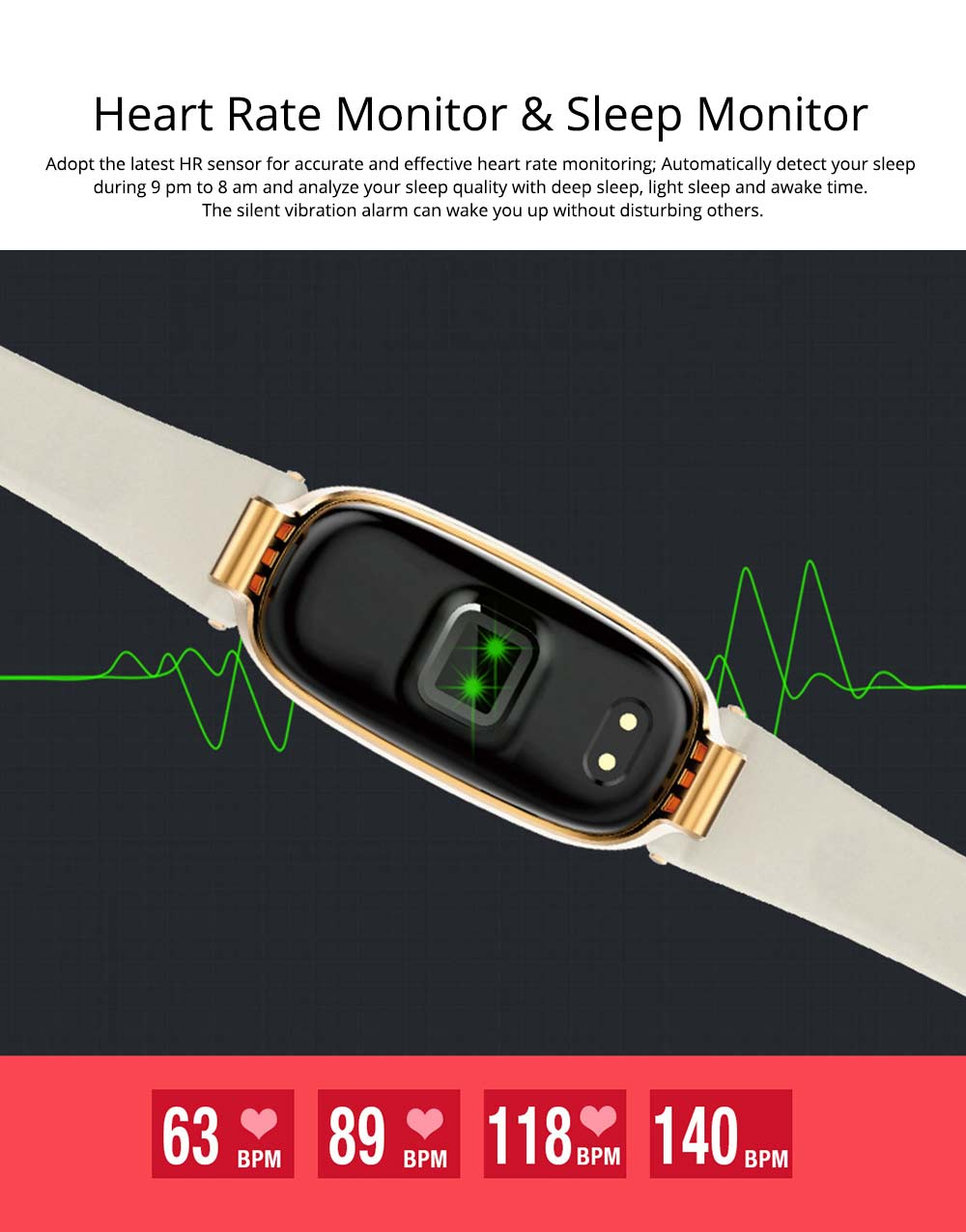 Smart Waterproof Bracelet, Dynamic Heart Rate Ladies Fitness Step Counter with Multiple Sports Mode 4